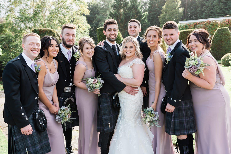 Wedding Photographer Scotland Relaxed Wedding Party Group Photo