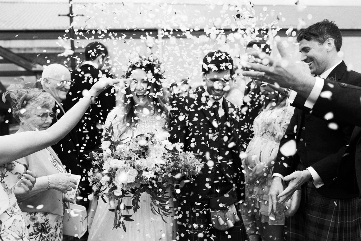 Wedding Confetti Photo Aberdeenshire Scotland